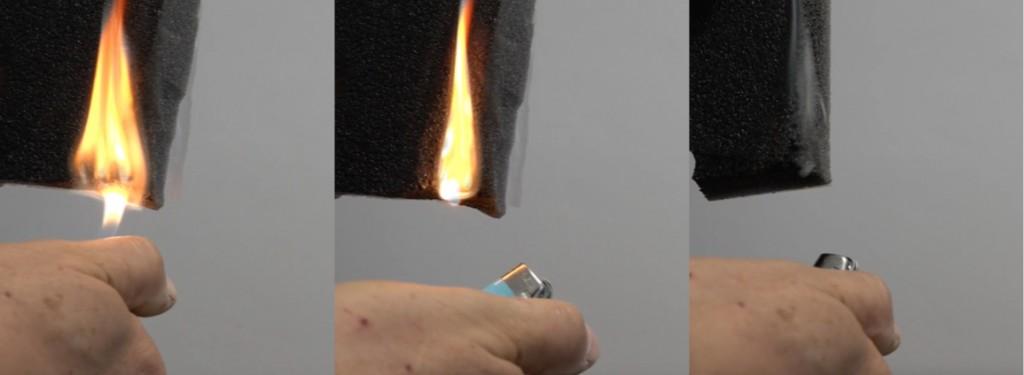 Le prove sul materiale condotte da Gecam mostrano come il poliuretano prenda fuoco per poi estinguersi dopo alcuni secondi provocando un fumo denso.