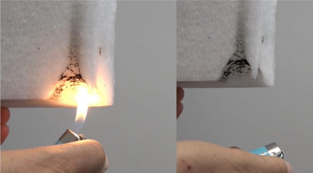 La prova al fuoco sulla fibra di poliestere mostra come il materiale non prenda fuoco e non rilasci fumi nocivi.